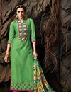 image of Green Long Length Chanderi Cotton Dress Material