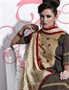 photo of Coffee Cotton Long Length Designer Suit-2677