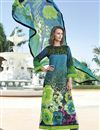 image of Sky Blue And Green Color Long Length Cotton Suit