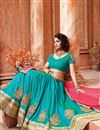 photo of Cyan Color Designer Festive Wear Silk Lehenga Choli With Unstitched Blouse