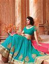 photo of Cyan Color Designer Festive Wear Silk Lehenga Choli With Unstitched Blouse