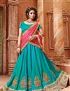 image of Cyan Color Designer Festive Wear Silk Lehenga Choli With Unstitched Blouse