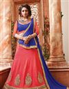 image of Festive Wear Embroidered Silk 3 Piece Lehenga Choli In Peach Color