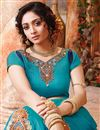 photo of Cyan Color Party Wear Designer Lehenga Choli With Satin Unstitched Blouse