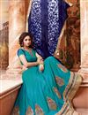 image of Cyan Color Party Wear Designer Lehenga Choli With Satin Unstitched Blouse