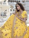 photo of Fascinating Yellow Color Designer Embroidered Saree In Georgette Fabric
