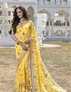 image of Fascinating Yellow Color Designer Embroidered Saree In Georgette Fabric