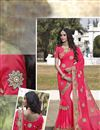 image of Fascinating Pink Color Designer Embroidered Saree In Georgette Fabric