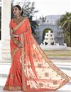 image of Fascinating Peach Color Designer Embroidered Saree In Georgette Fabric