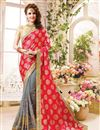 image of Beautifully Embroidered Pink And Grey Color Designer Saree In Fancy Silk Fabric