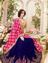 photo of Gorgeous Pink And Blue Color Fancy Silk Embroidered Saree With Unstitched Raw Silk Blouse