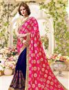 image of Gorgeous Pink And Blue Color Fancy Silk Embroidered Saree With Unstitched Raw Silk Blouse