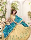photo of Festive Wear Lovely Teal And Cream Color Designer Saree In Fancy Silk Fabric