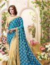 image of Festive Wear Lovely Teal And Cream Color Designer Saree In Fancy Silk Fabric