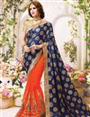 image of Beautifully Embroidered Orange And Blue Color Designer Saree In Fancy Silk Fabric
