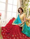 photo of Designer Stylish Fancy Silk Saree In Red And Cyan Color With Embroidery Work