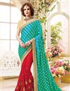 image of Designer Stylish Fancy Silk Saree In Red And Cyan Color With Embroidery Work