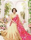 photo of Gorgeous Pink And Cream Color Fancy Silk Embroidered Saree With Unstitched Raw Silk Blouse