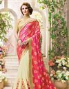 image of Gorgeous Pink And Cream Color Fancy Silk Embroidered Saree With Unstitched Raw Silk Blouse