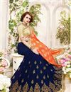 photo of Festive Wear Lovely Orange And Blue Color Designer Saree In Fancy Silk Fabric