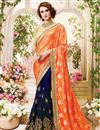image of Festive Wear Lovely Orange And Blue Color Designer Saree In Fancy Silk Fabric