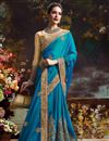 photo of Dazzling Teal Color Designer Party Wear Silk Saree With Unstitched Raw Silk Blouse
