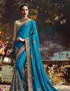image of Dazzling Teal Color Designer Party Wear Silk Saree With Unstitched Raw Silk Blouse