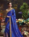 photo of Glamorous Blue Color Embroidered Saree With Unstitched Raw Silk Blouse