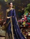 photo of Beautiful Blue Color Embroidered Designer Saree With Unstitched Raw Silk Blouse
