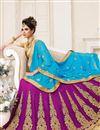 photo of Designer Wedding Wear Purple Color 3 Piece Lehenga Choli In Georgette Fabric