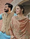 photo of Chikoo Color Chinon Fabric Function Wear Embroidered Palazzo Suit