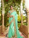 image of Festive Special Embroidery Work On Sea Green Art Silk Function Wear Saree With Party Wear Blouse