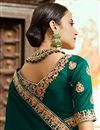 photo of Art Silk Party Wear Saree In Teal With Embroidery Work