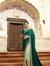 image of Art Silk Party Wear Saree In Teal With Embroidery Work