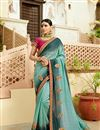 image of Light Cyan Art Silk Embroidery Work Designer Saree