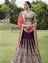 image of Wedding Function Wear Bhagalpuri Fabric Designer Lehenga In Wine Color