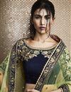 photo of Wedding Function Wear Navy Blue Designer Lehenga In Velvet Fabric