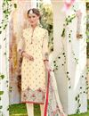 image of Embroidered Beige Regular Wear Straight Cut Suit In Georgette