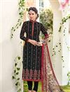 image of Georgette Designer Stright Cut Dress In Black With Embroidery