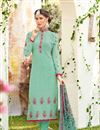 image of Sea Green Georgette Casual Wear Straight Cut Suit With Embroidery
