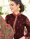 photo of Maroon Embroidery On Daily Wear Straight Cut Dress In Georgette