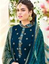 photo of Teal Embroidered Georgette Designer Straight Cut Salwar Suit