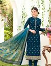 image of Teal Embroidered Georgette Designer Straight Cut Salwar Suit