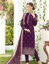 image of Embroidered Georgette Dark Lavender Regular Wear Straight Cut Suit