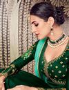 photo of Festive Special Function Wear Georgette Dark Green Floor Length Anarkali Suit With Work