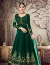 image of Festive Special Function Wear Georgette Dark Green Floor Length Anarkali Suit With Work