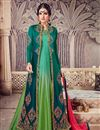 image of Wedding Wear Teal Georgette Designer Anarkali Dress With Work
