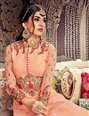 photo of Salmon Wedding Function Wear Long Anarkali Suit In Georgette With Work