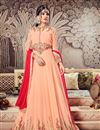 image of Festive Special Salmon Wedding Function Wear Long Anarkali Suit In Georgette With Work