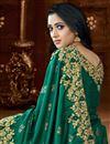 photo of Fancy Dark Green Color Art Silk Fabric Sangeet Wear Saree